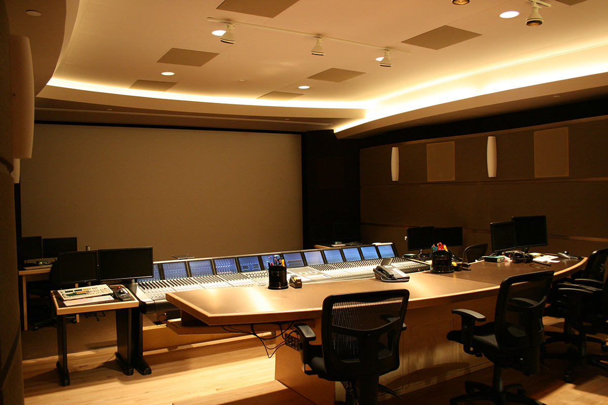 Studio view showing Dolby Atmos ceiling speakers
