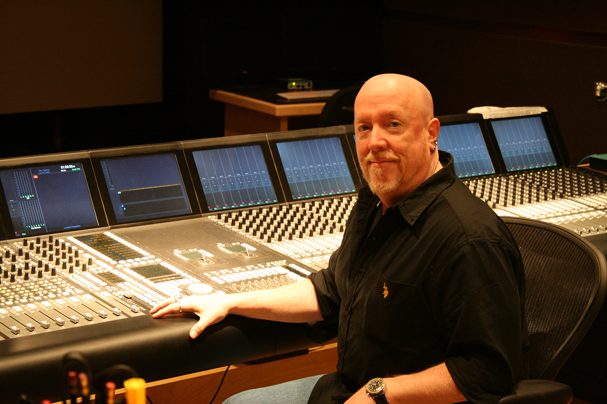 Chris Neylan, Soundtrack Chief Engineer sitting at console