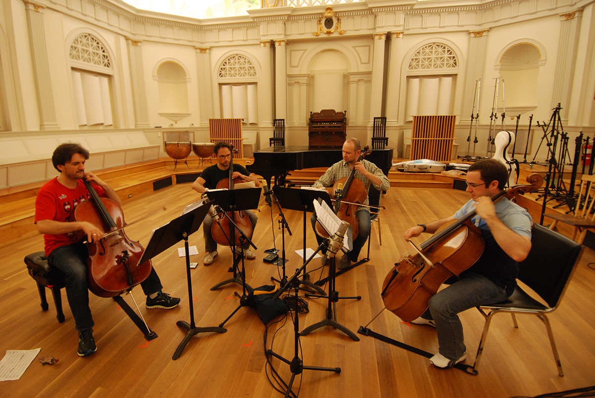 Boston Cello Quartet recording in the live room