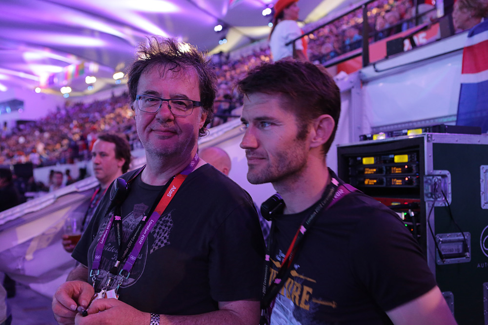 From left to right: Bobby Aitken (sound designer) and Scott Willsallen (Auditoria) who had responsibility for the total audio installation in the stadium