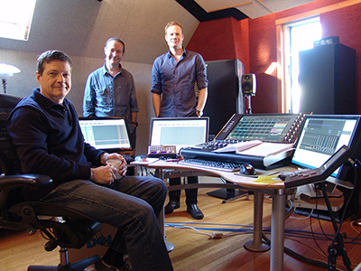 The mix team, from L to R; Ross Ahern (engineer), Greg Simmons (producer) and Ben Gurton (trombone/client).